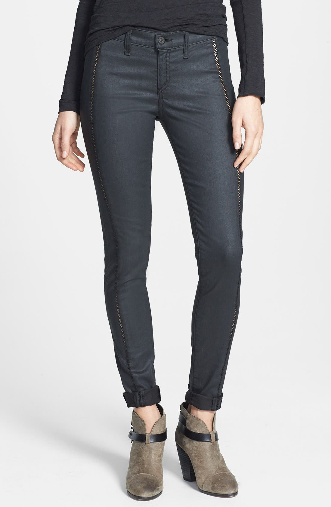 Main Image - rag & bone/JEAN 'Separating' Coated Open Detail Skinny Jeans (Shore Ditch)