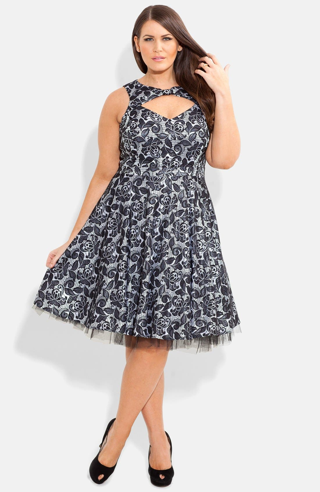 Main Image - City Chic Bonded Lace Fit & Flare Dress (Plus Size)