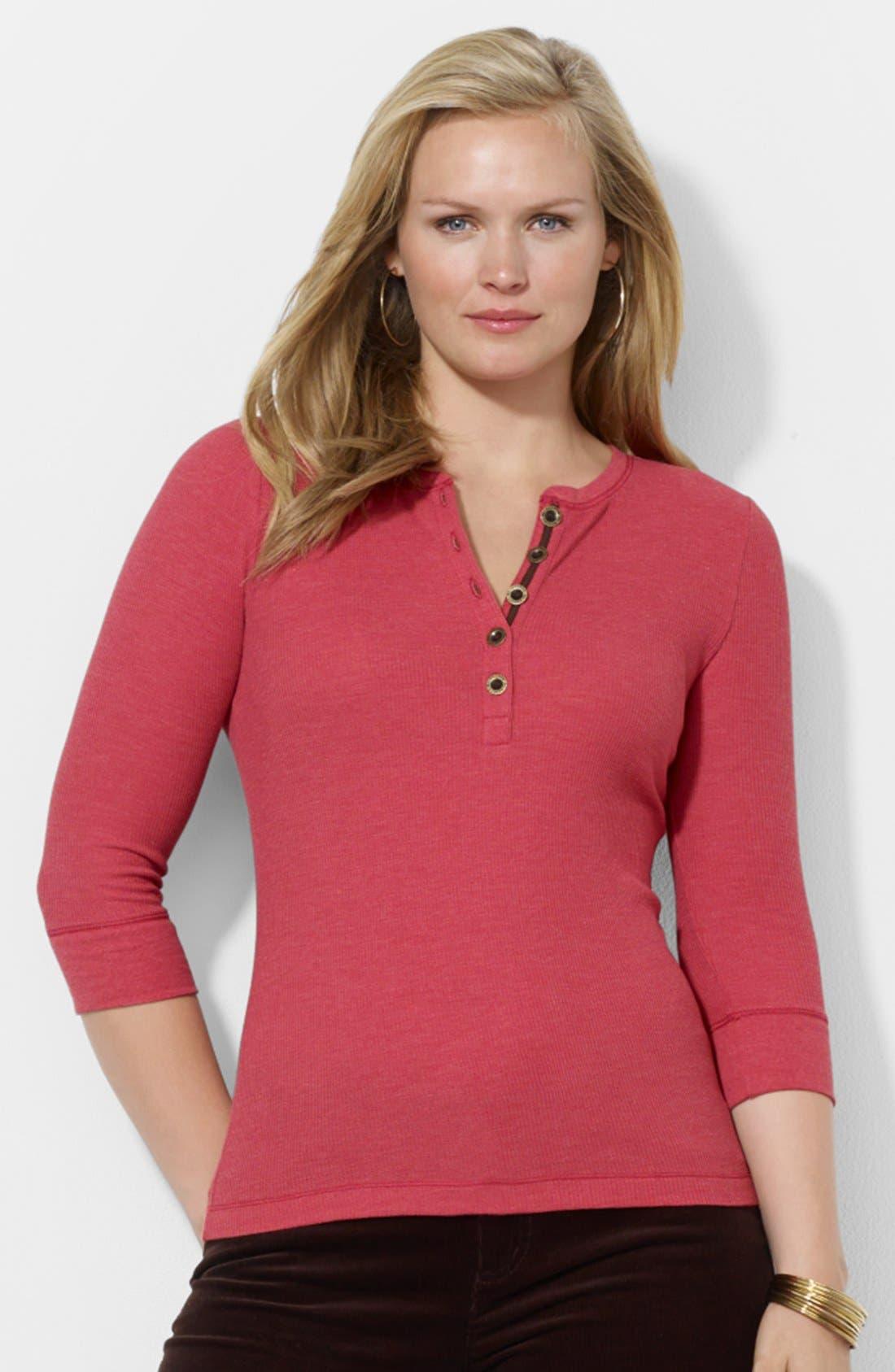 Alternate Image 1 Selected - Lauren Ralph Lauren Waffle Knit Henley Top (Plus Size)