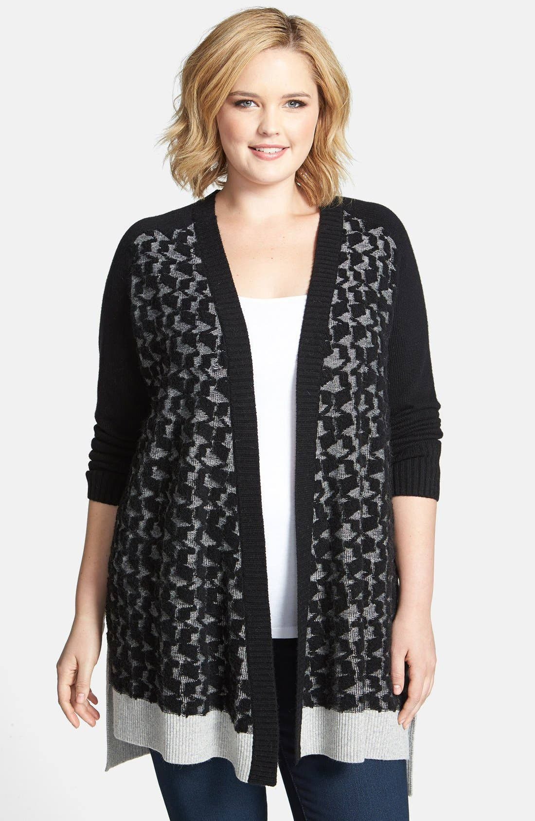 Alternate Image 1 Selected - DKNYC Open Front Houndstooth Textured Cardigan (Plus Size)