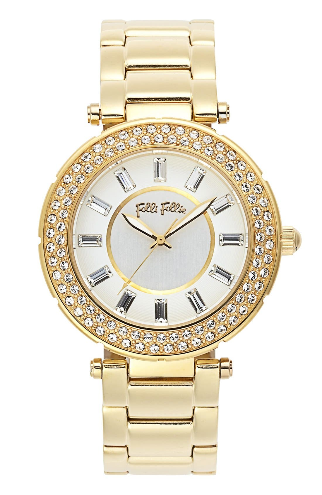 Main Image - Folli Follie 'Beautime' Crystal Bezel Bracelet Watch, 41mm