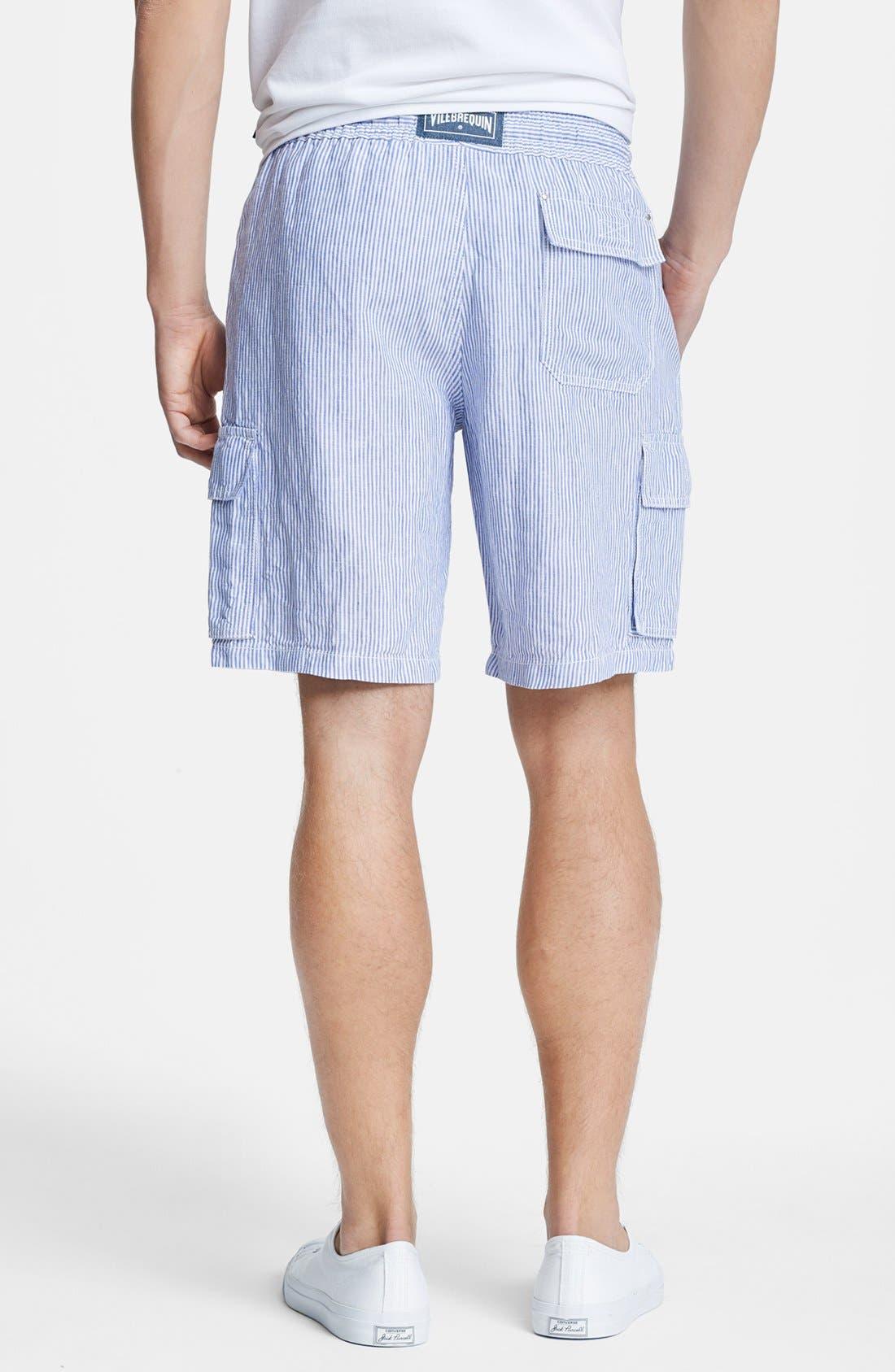 Alternate Image 2  - Vilebrequin 'Berrix' Stripe Linen Cargo Shorts