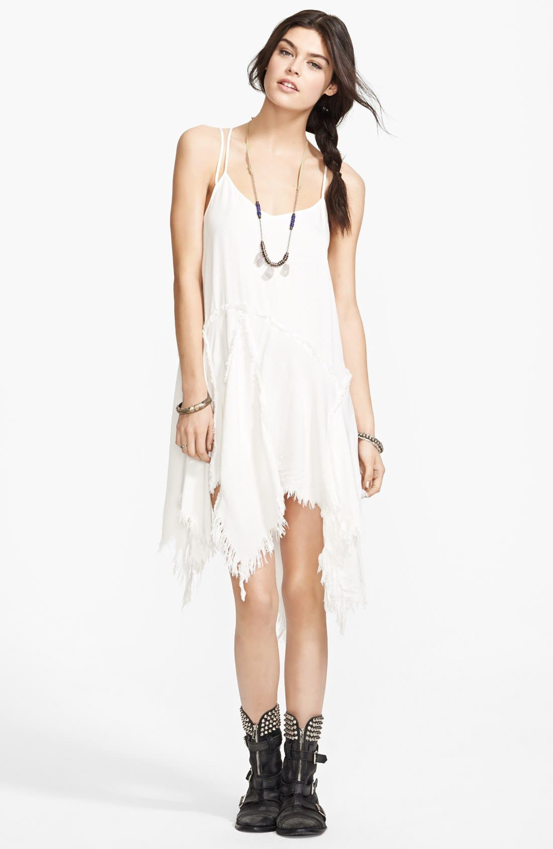 Main Image - Free People 'Tattered Up' Shredded Trim Slipdress