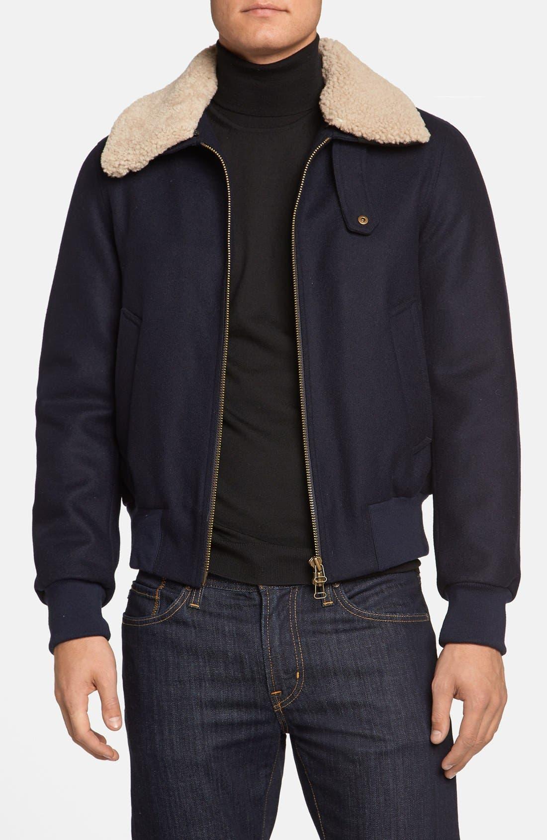 Main Image - AMI Alexandre Mattiussi Wool & Genuine Shearling Bomber Jacket