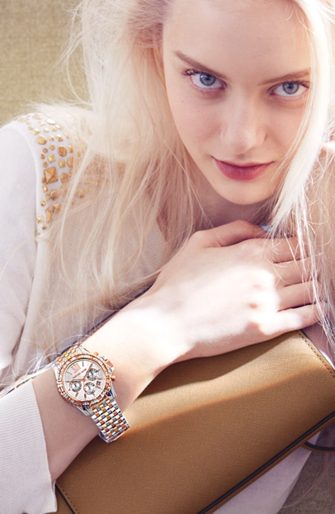 Alternate Image 5  - Michael Kors 'Everest' Crystal Bezel Tri Tone Bracelet Watch, 42mm