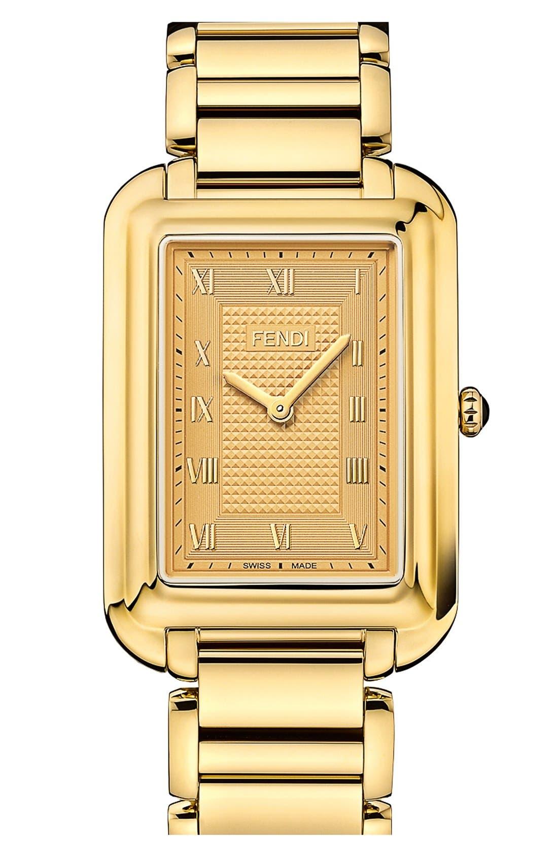 Main Image - Fendi 'Classico' Rectangular Bracelet Watch, 31mm x 38mm
