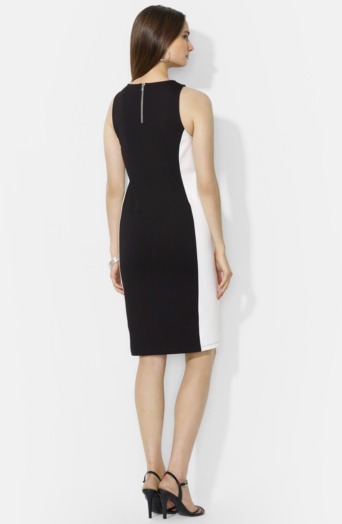 Alternate Image 2  - Lauren Ralph Lauren Colorblock Sleeveless Ponte Dress (Petite)
