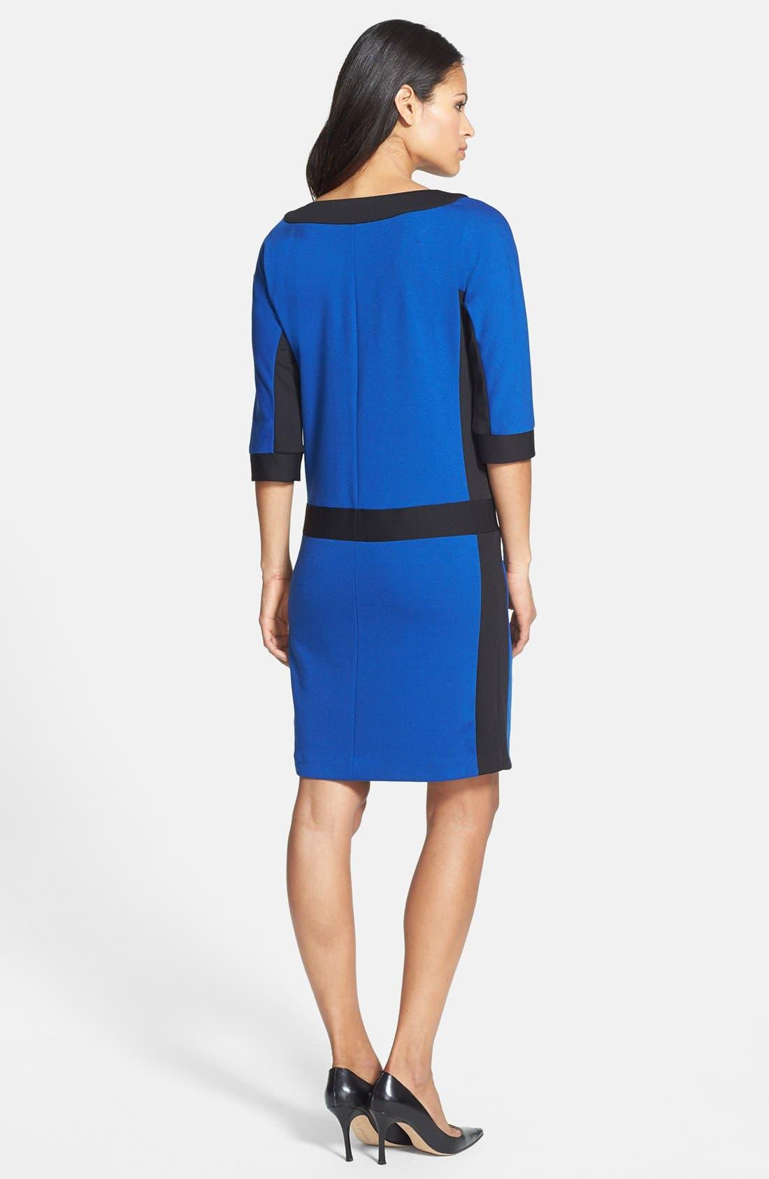 Alternate Image 3  - Ellen Tracy Front Zip Colorblock Ponte Knit Shift Dress