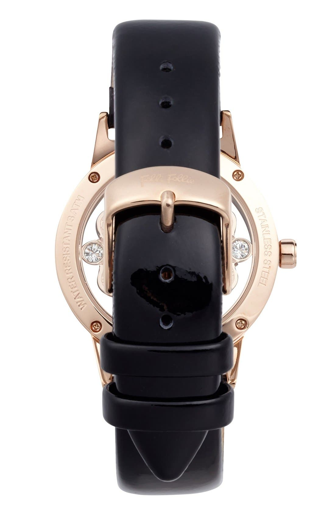 Alternate Image 2  - Folli Follie 'Heart 4 Heart' Crystal Dial Leather Strap Watch, 36mm