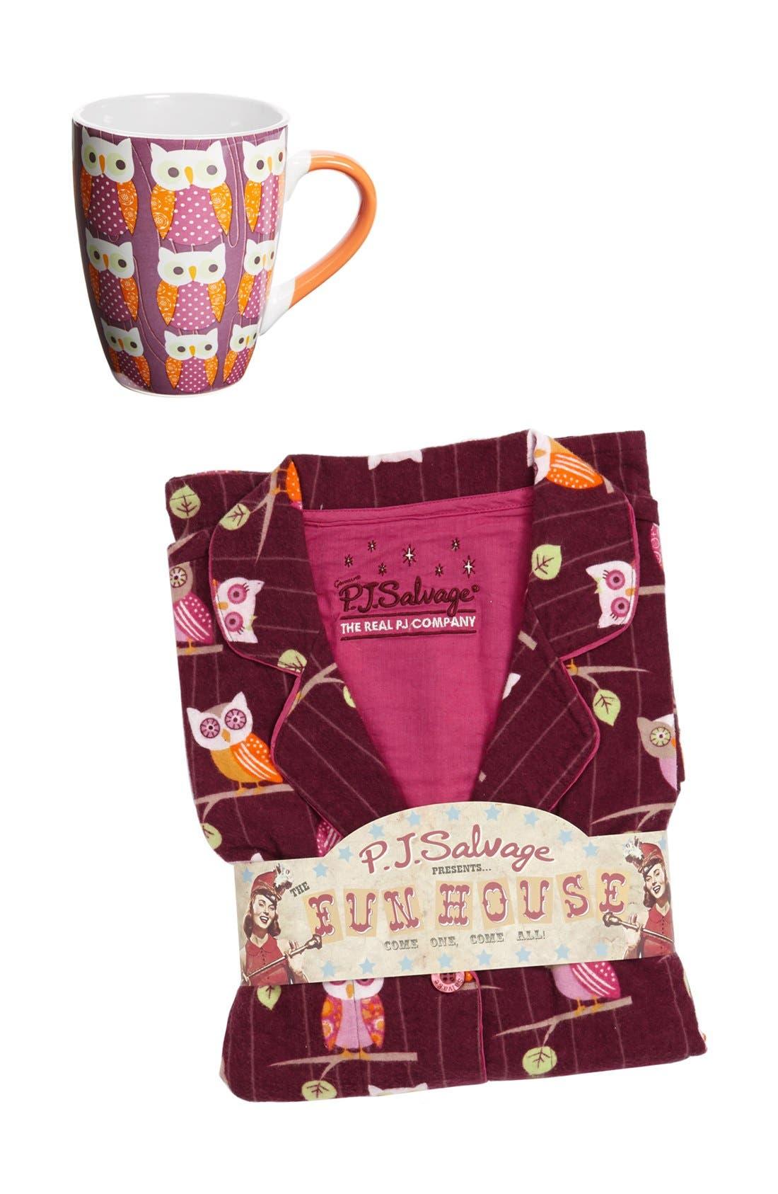 Alternate Image 5  - PJ Salvage Print Flannel Pajamas (Plus Size)