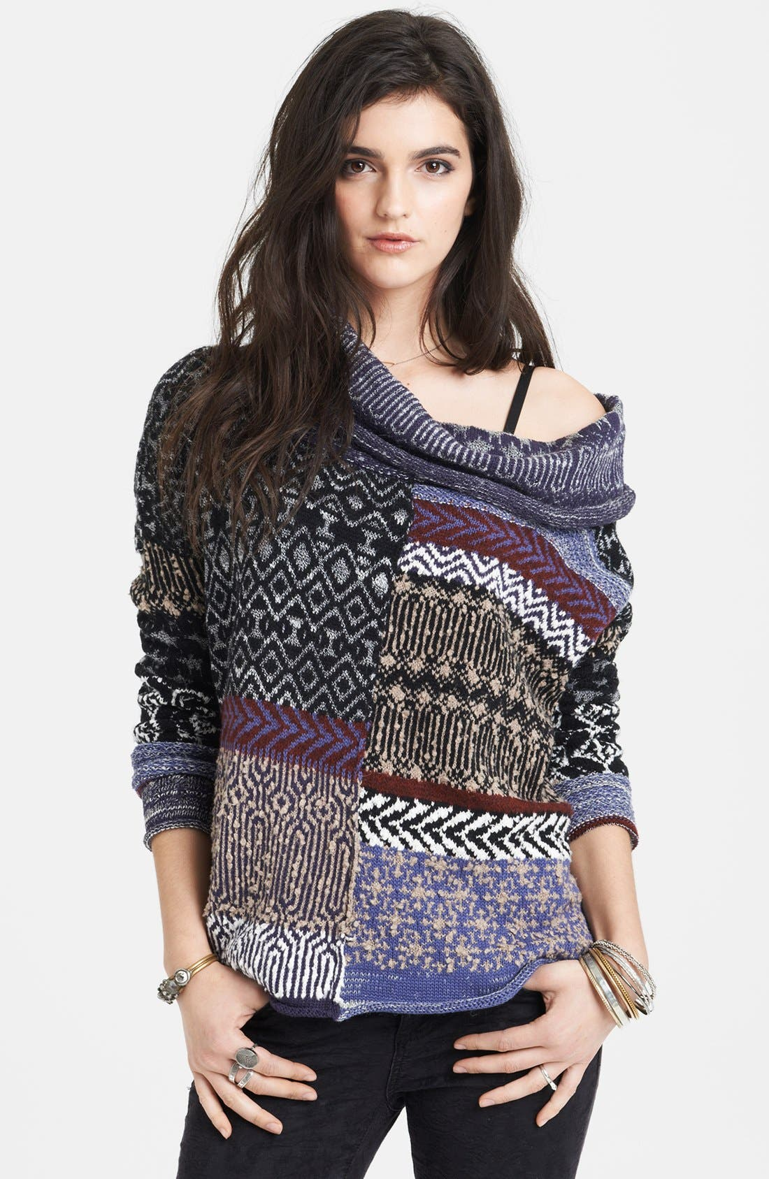 Main Image - Free People Cowl Neck Patchwork Sweater