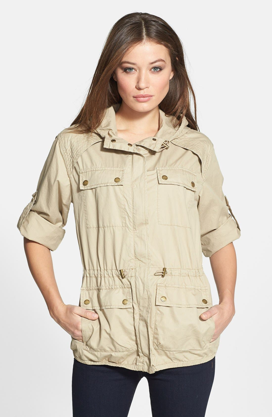 Alternate Image 1 Selected - MICHAEL Michael Kors Roll Sleeve Hooded Twill Anorak