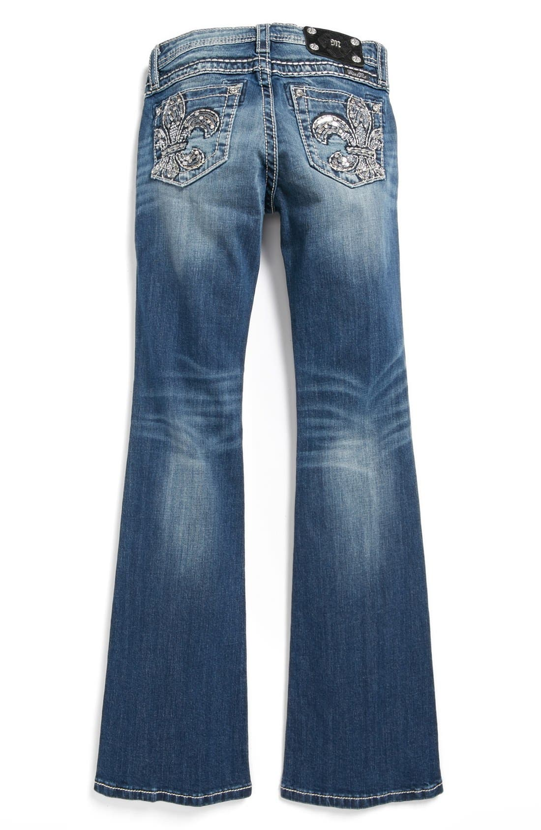 Alternate Image 1 Selected - Miss Me 'Fleur de Lis' Skinny Jeans (Big Girls)