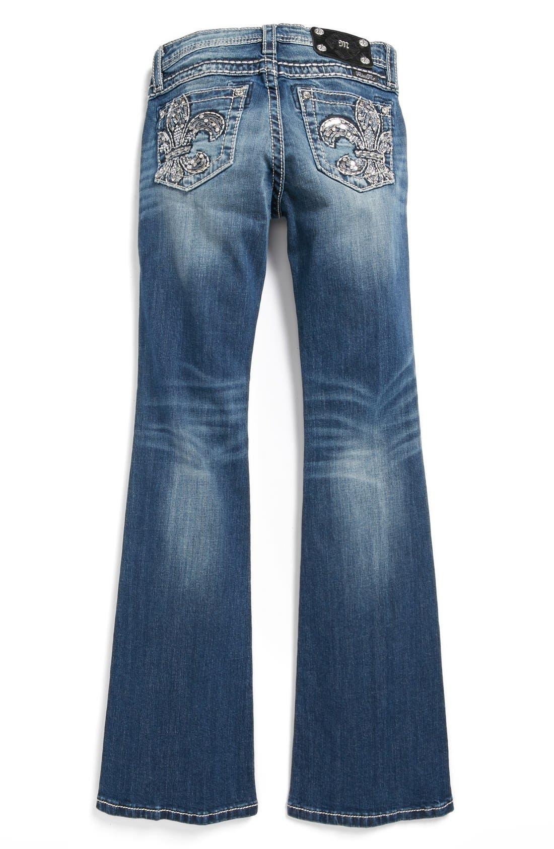 Main Image - Miss Me 'Fleur de Lis' Skinny Jeans (Big Girls)