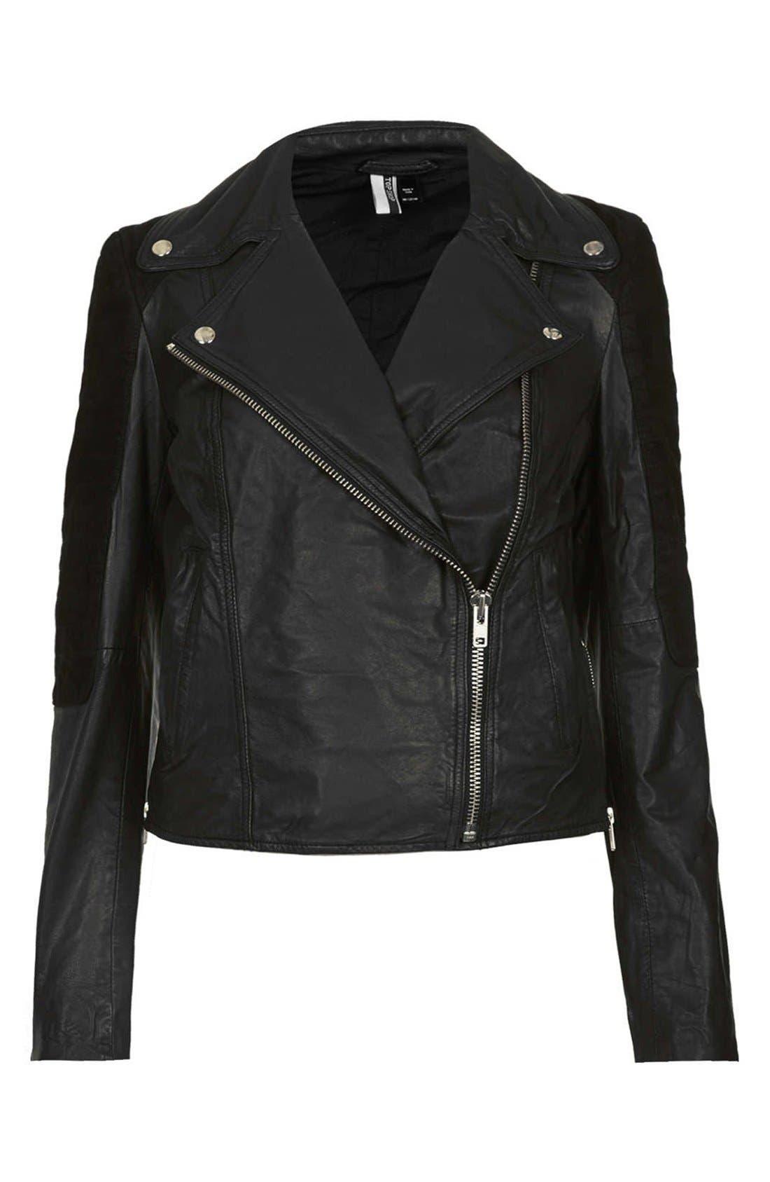 Alternate Image 3  - Topshop Mixed Leather Biker Jacket