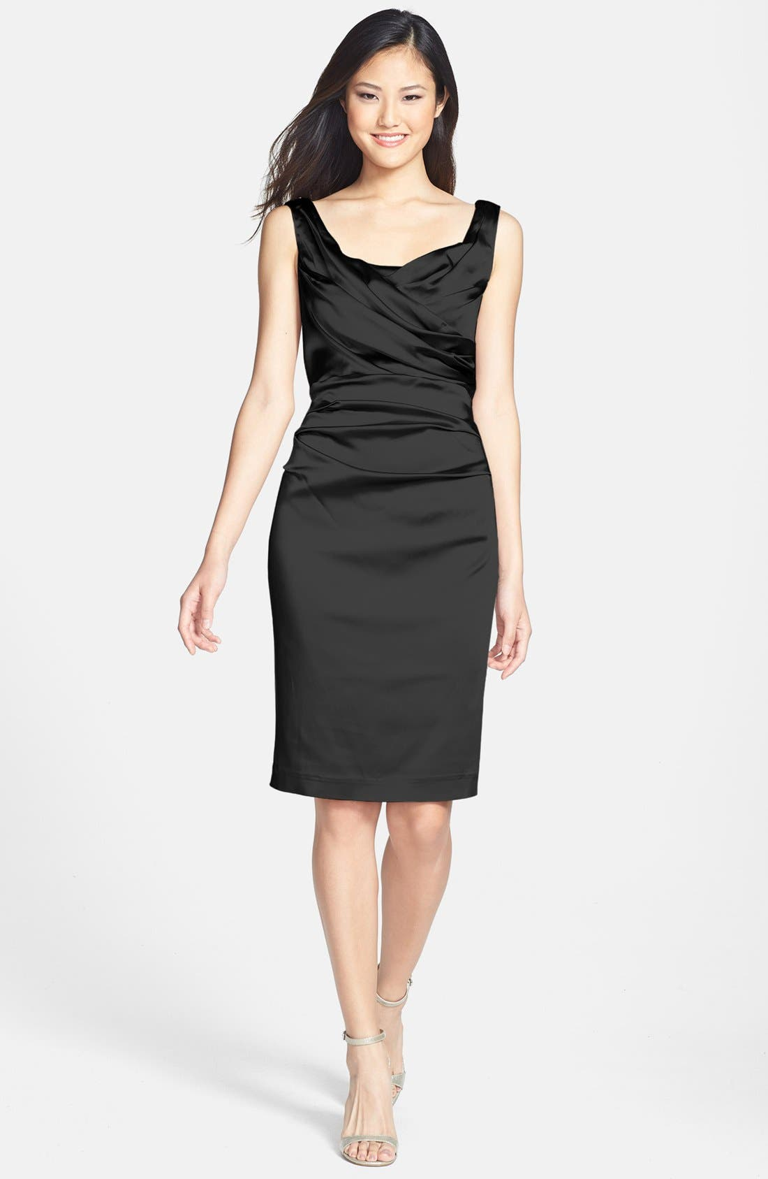 Alternate Image 1  - Ivy & Blu Ruched Stretch Satin Sheath Dress