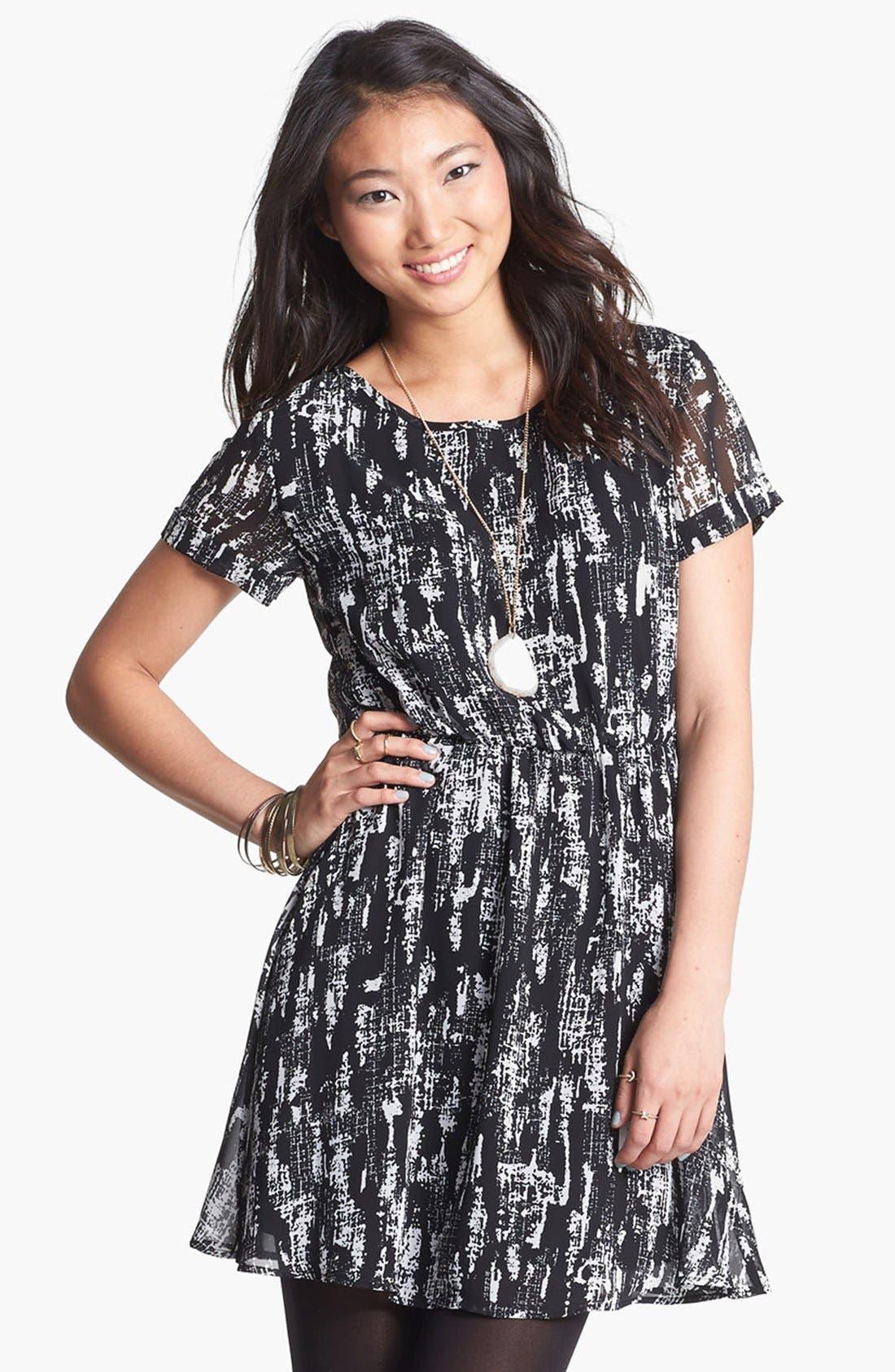 Main Image - dee elle 'Milly' Chiffon Skater Dress (Juniors)