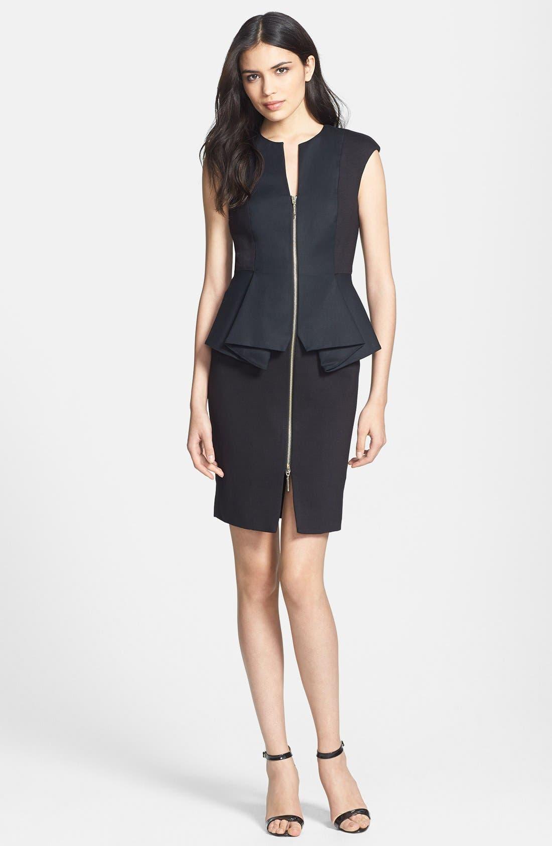 Main Image - Ted Baker London 'Jamthun' Structured Peplum Cotton Blend Sheath Dress