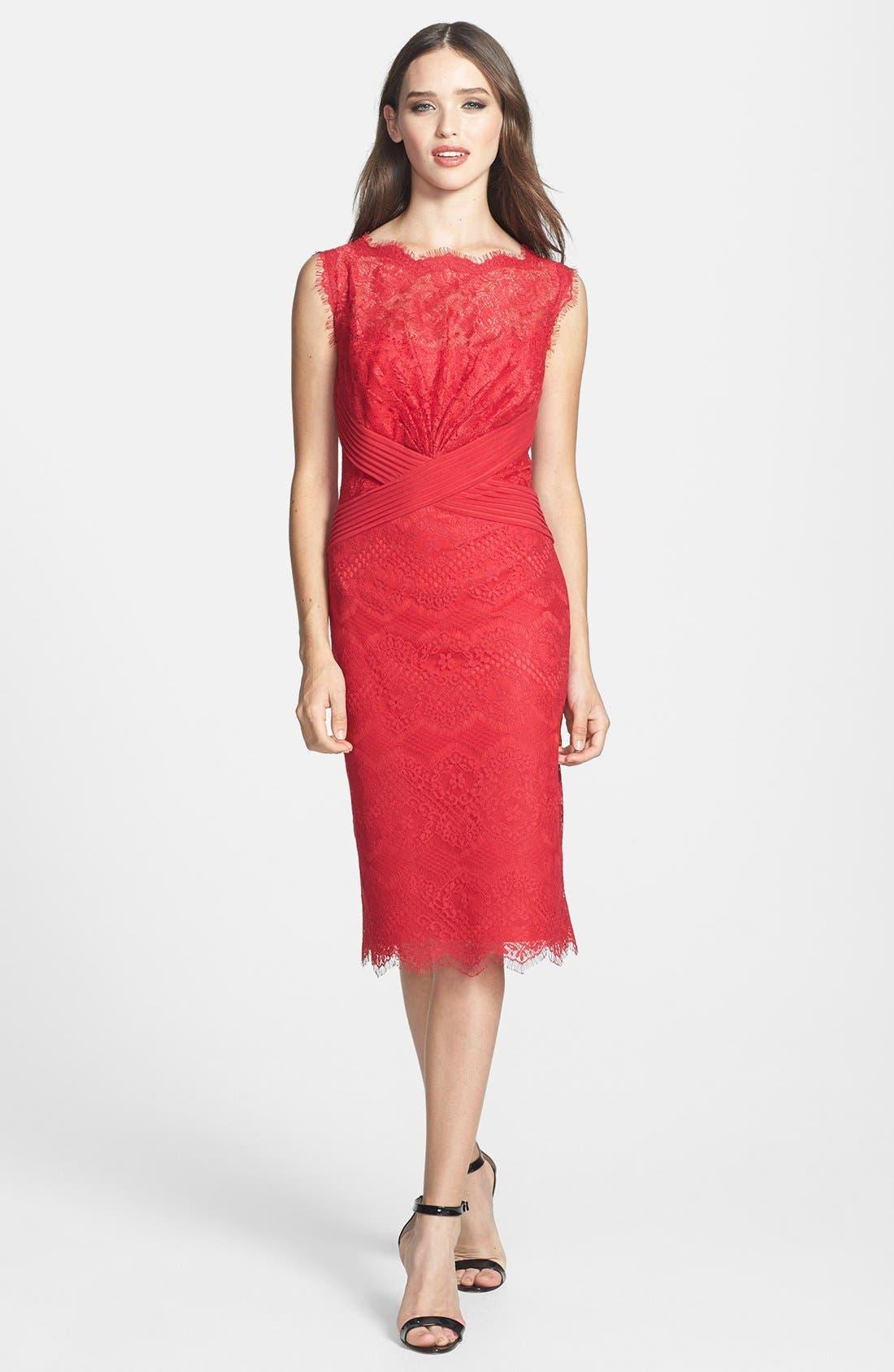 Main Image - Tadashi Shoji Lace Sheath Dress (Regular & Petite)