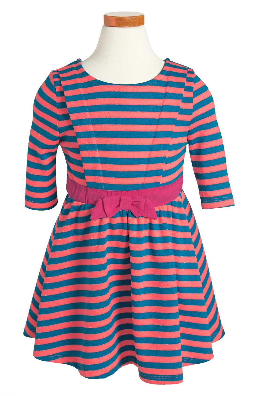 Main Image - Weavers Stripe Ponte Three Quarter Sleeve Dress (Toddler Girls)
