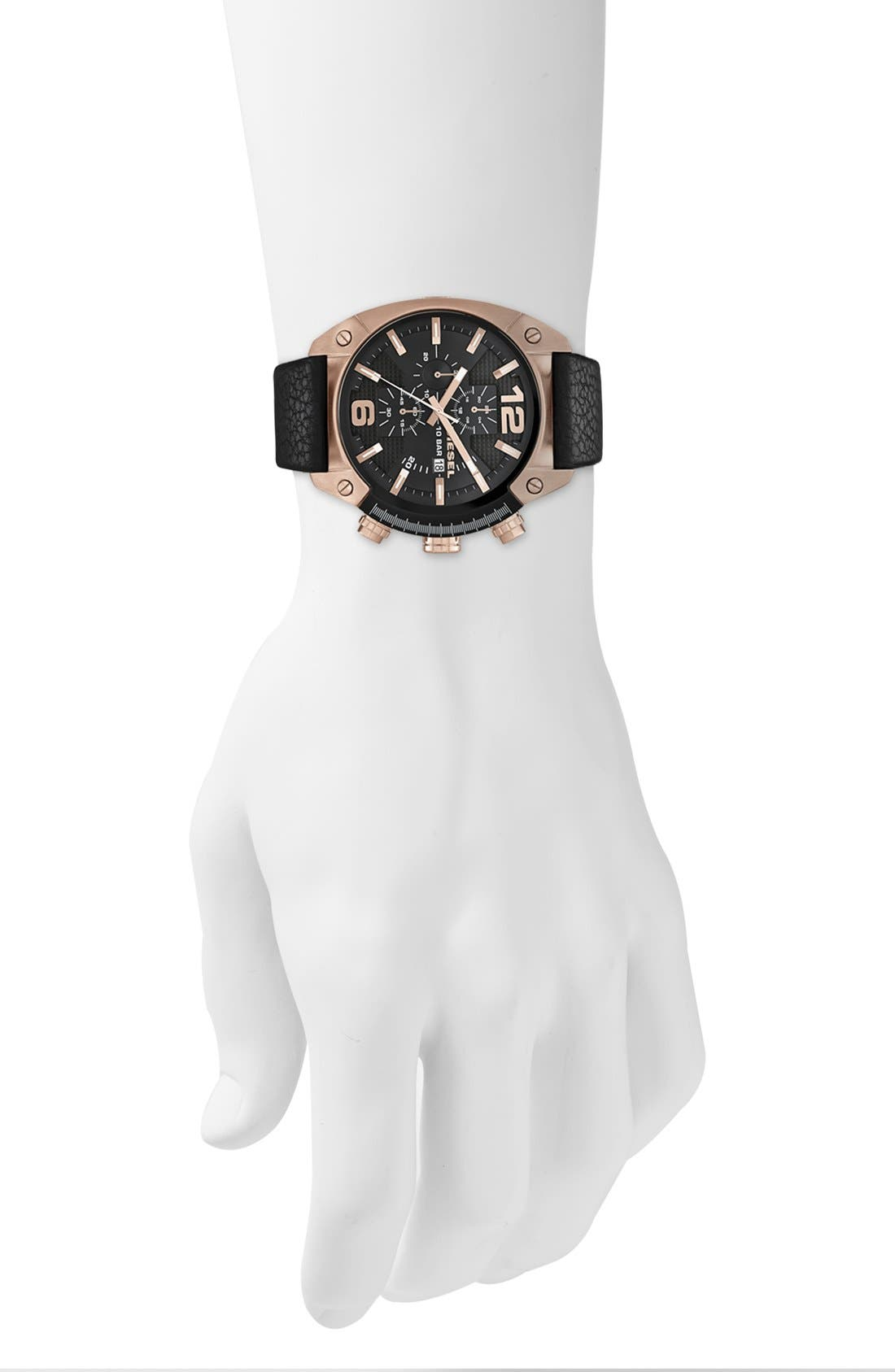 Alternate Image 4  - DIESEL® 'Overflow' Chronograph Leather Strap Watch, 46mm x 49mm