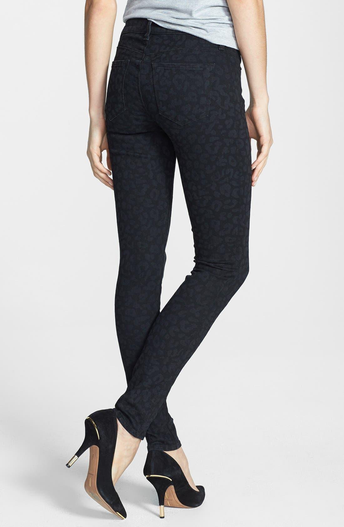 Alternate Image 2  - J Brand '620' Mid Rise Skinny Jeans (Black Leopard)