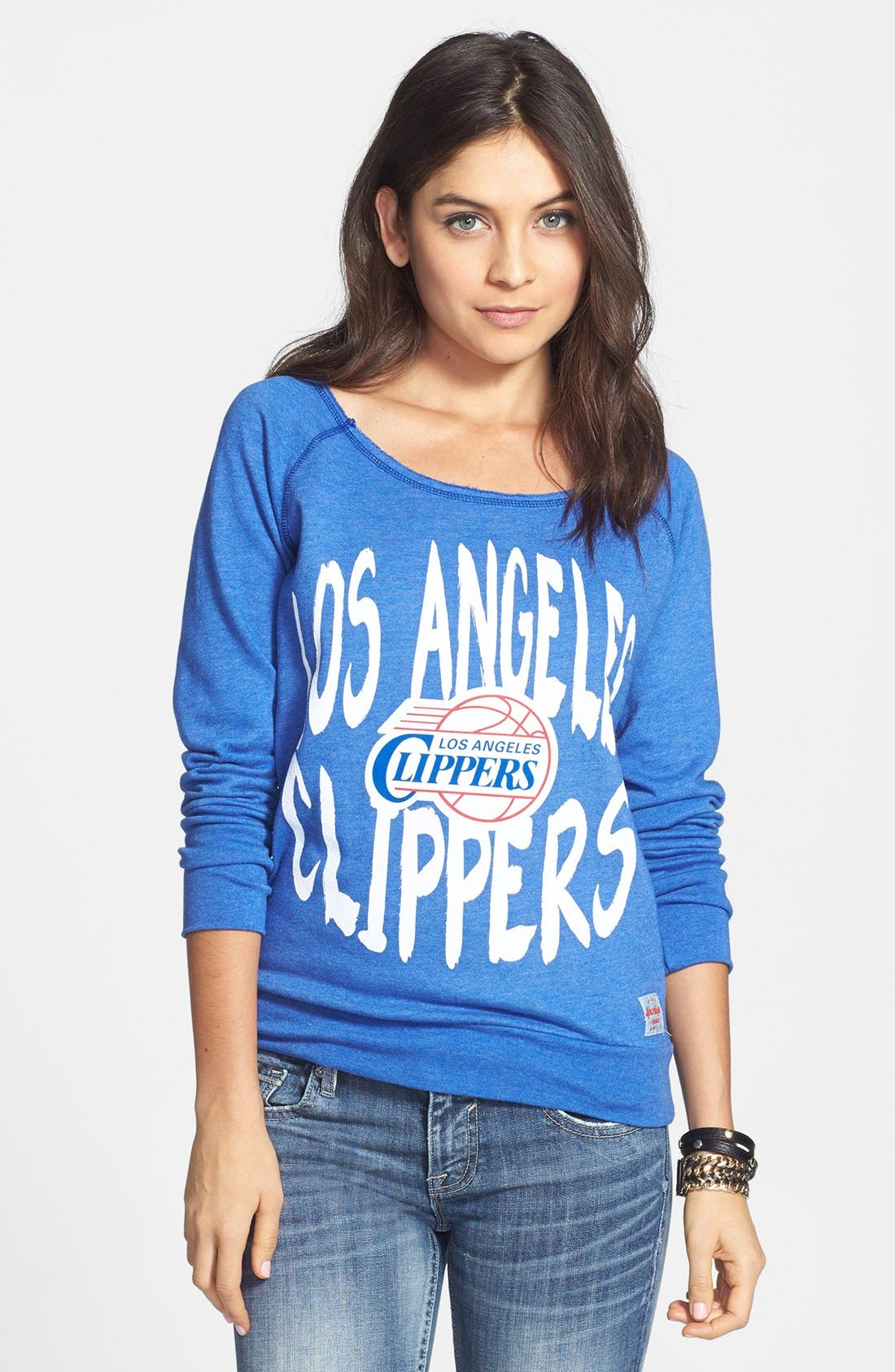 Alternate Image 1 Selected - Sportiqe 'Los Angeles Clippers' Wide Neck Fleece Sweatshirt (Juniors) (Online Only)
