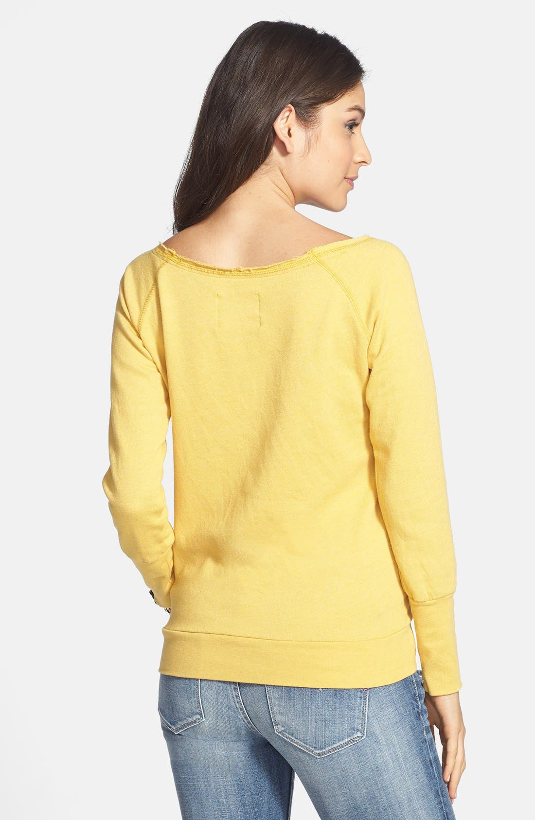 Alternate Image 2  - Sportiqe 'Los Angeles Lakers' Wide Neck Fleece Sweatshirt (Juniors) (Online Only)