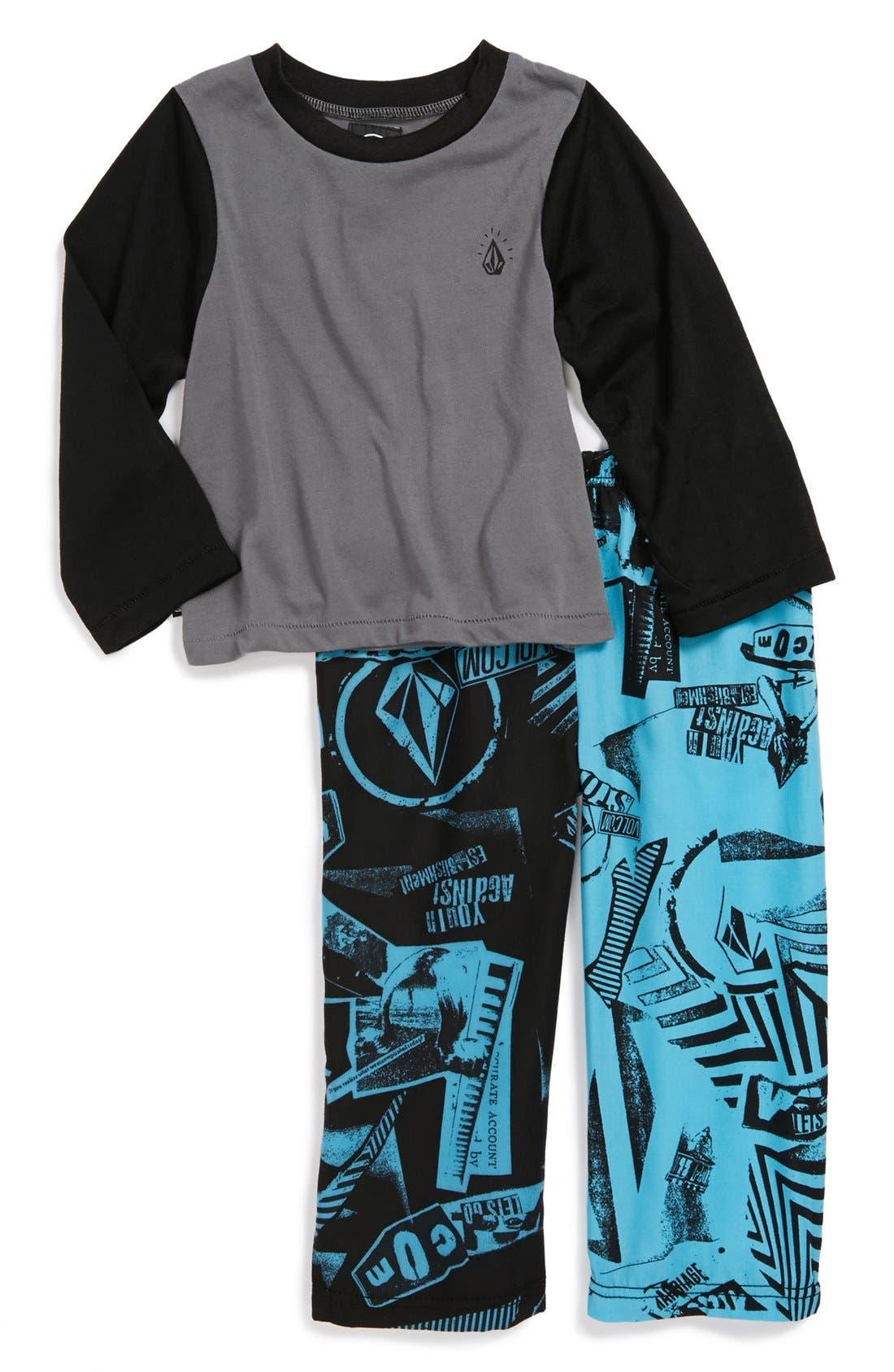 Alternate Image 1 Selected - Volcom 'Mixed Upness' Pajama Set (Toddler Boys)