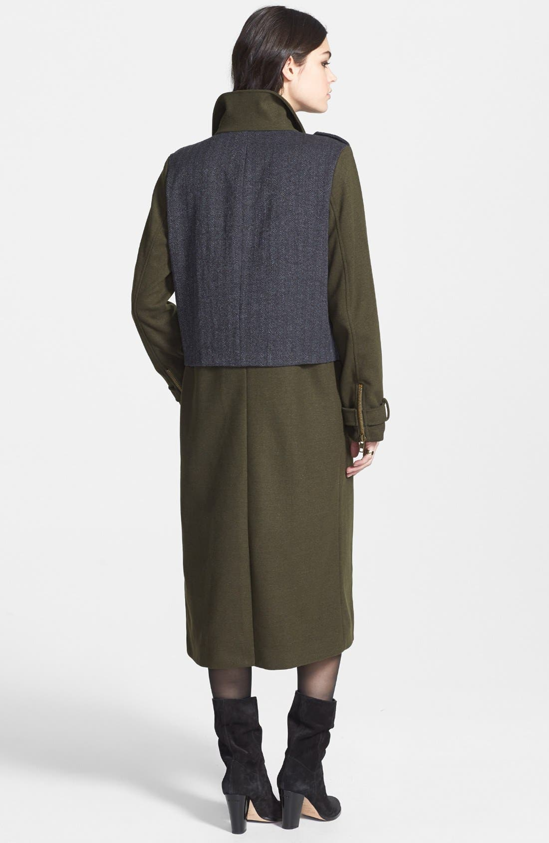 Alternate Image 2  - Lucca Couture Tweed Panel Long Military Coat