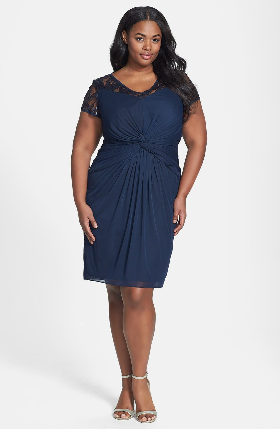 Alternate Image 1 Selected - Adrianna Papell Embellished Lace Yoke Knotted Tulle Dress (Plus Size)