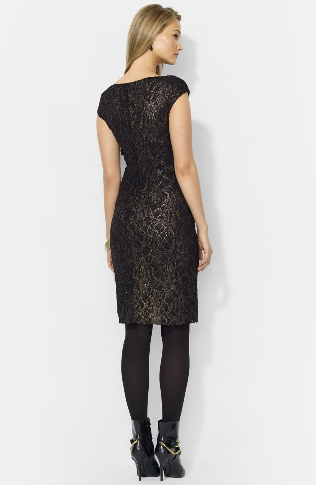 Alternate Image 2  - Lauren Ralph Lauren Foiled Lace Sheath Dress (Petite)