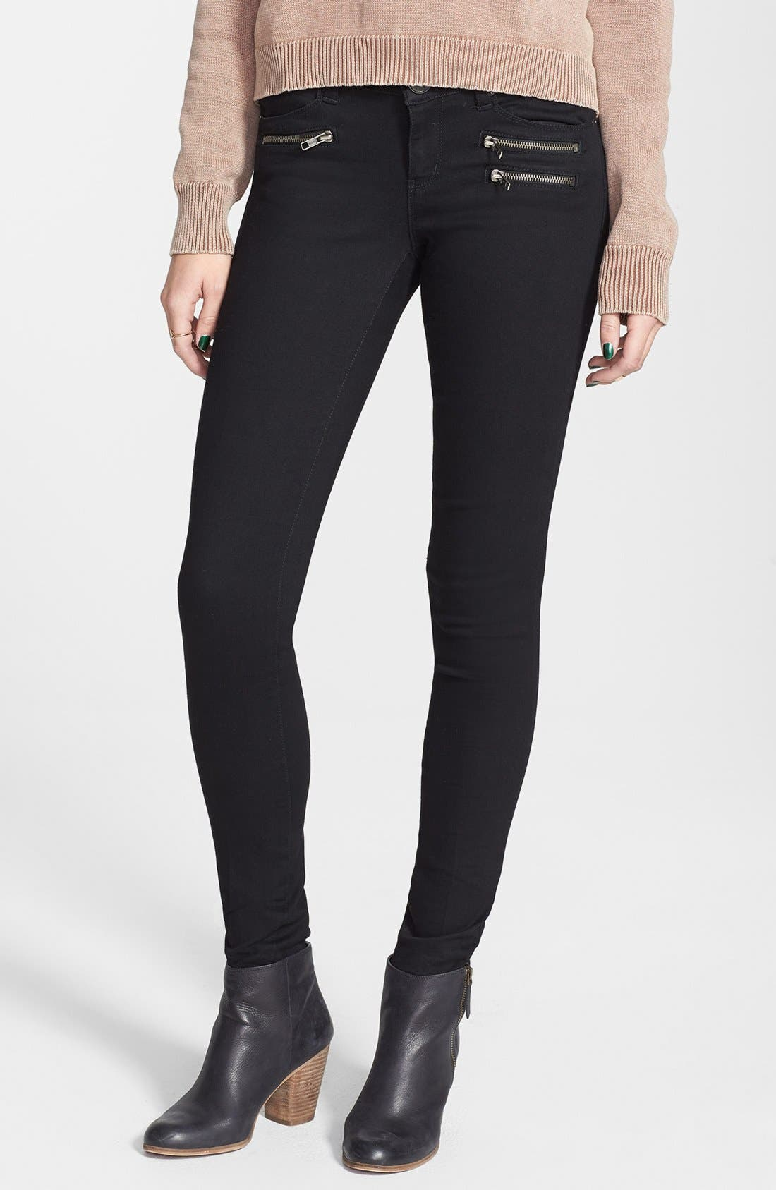 Main Image - Jolt Zipper Skinny Jeans (Juniors)