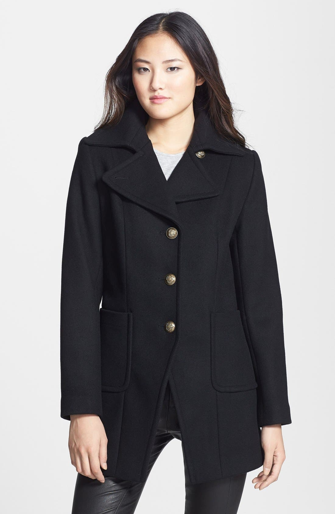 Main Image - Kristen Blake Single Breasted Wool Blend Walking Coat (Nordstrom Exclusive)