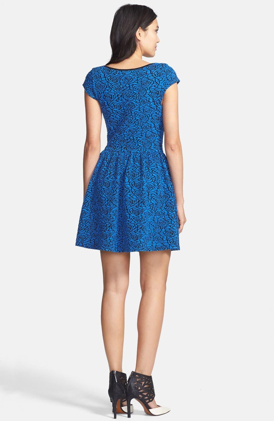 Alternate Image 2  - Glamorous Cap Sleeve Jacquard Skater Dress
