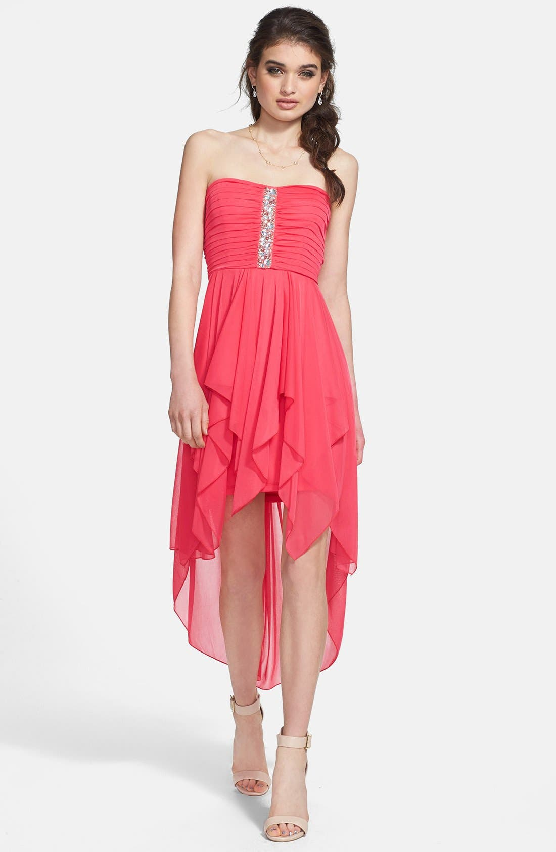 Alternate Image 1 Selected - Way-In Embellished Chiffon High/Low Dress (Juniors)