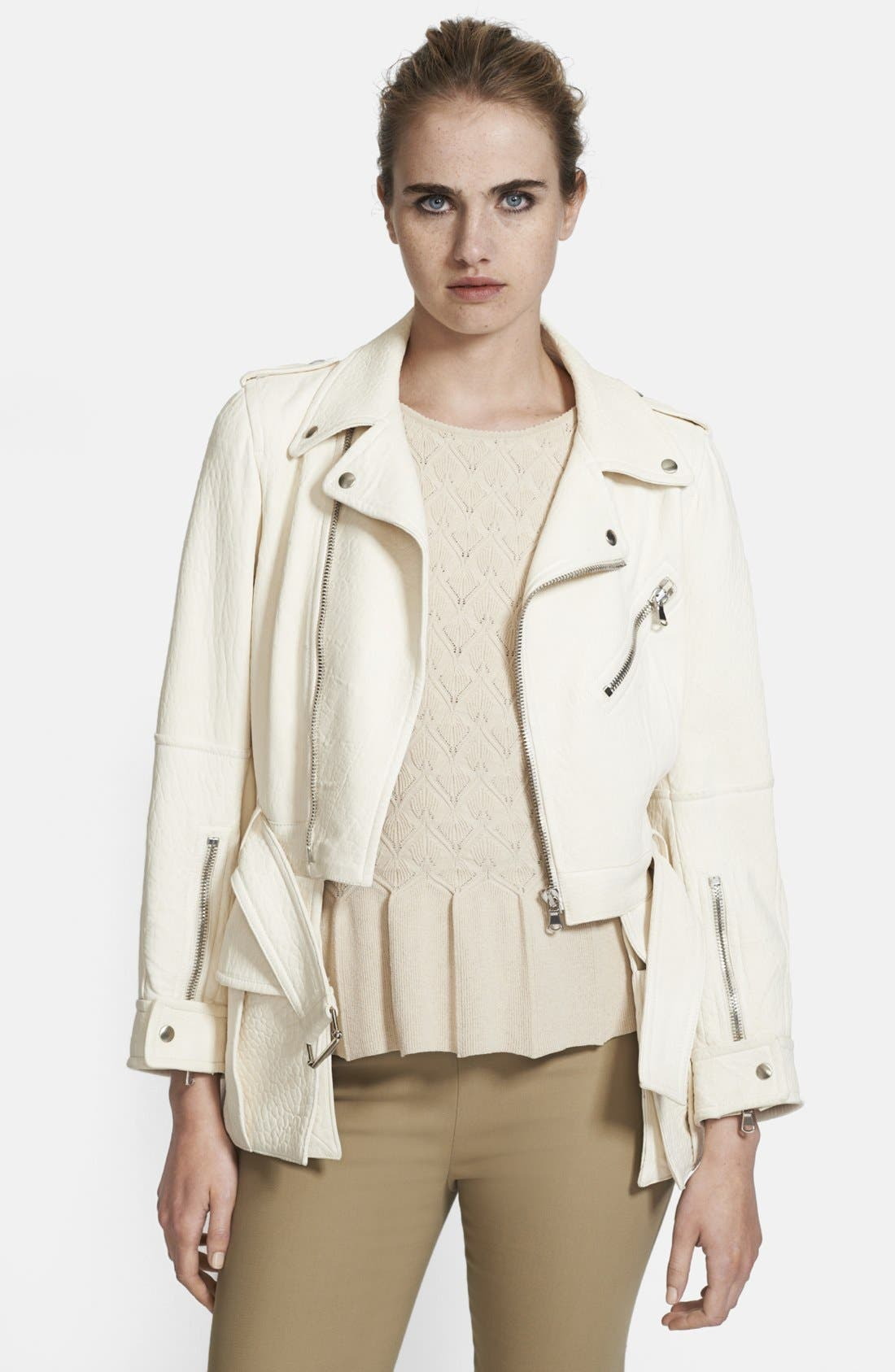 Main Image - Alexander McQueen Belted & Ruffled Leather Jacket