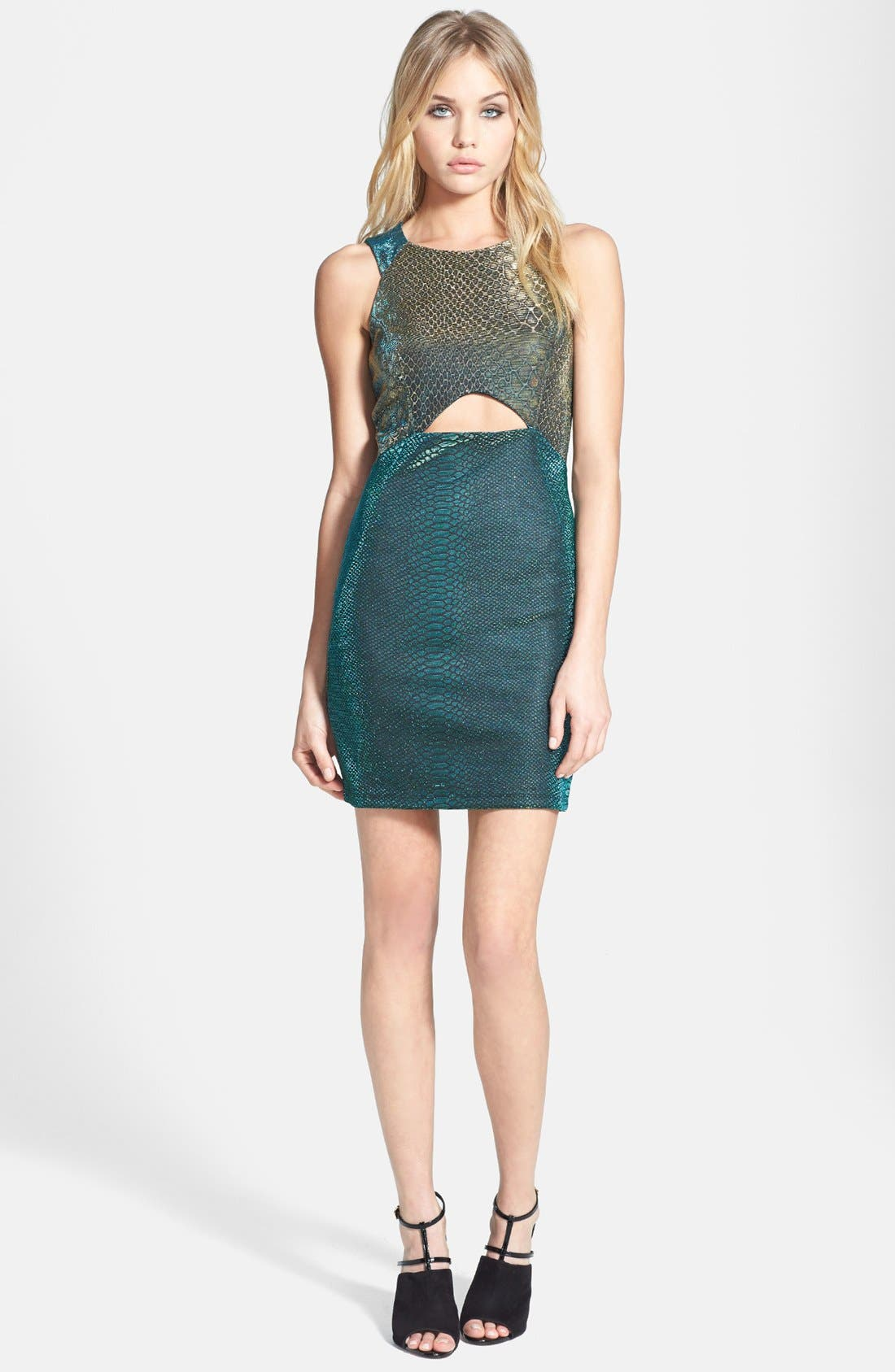Main Image - Topshop Cutout Snake Print Body-Con Dress