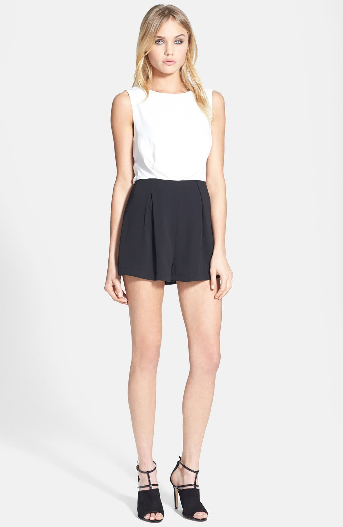 Alternate Image 1 Selected - Topshop Colorblock Lace Back Romper