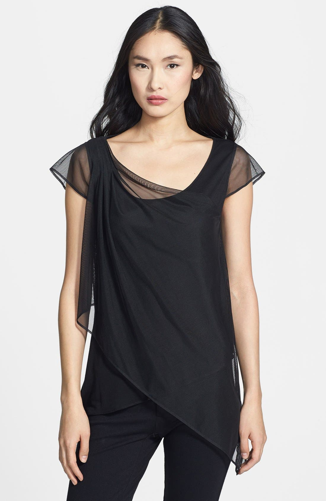 Alternate Image 1 Selected - Komarov Chiffon Overlay Asymmetrical  Tunic