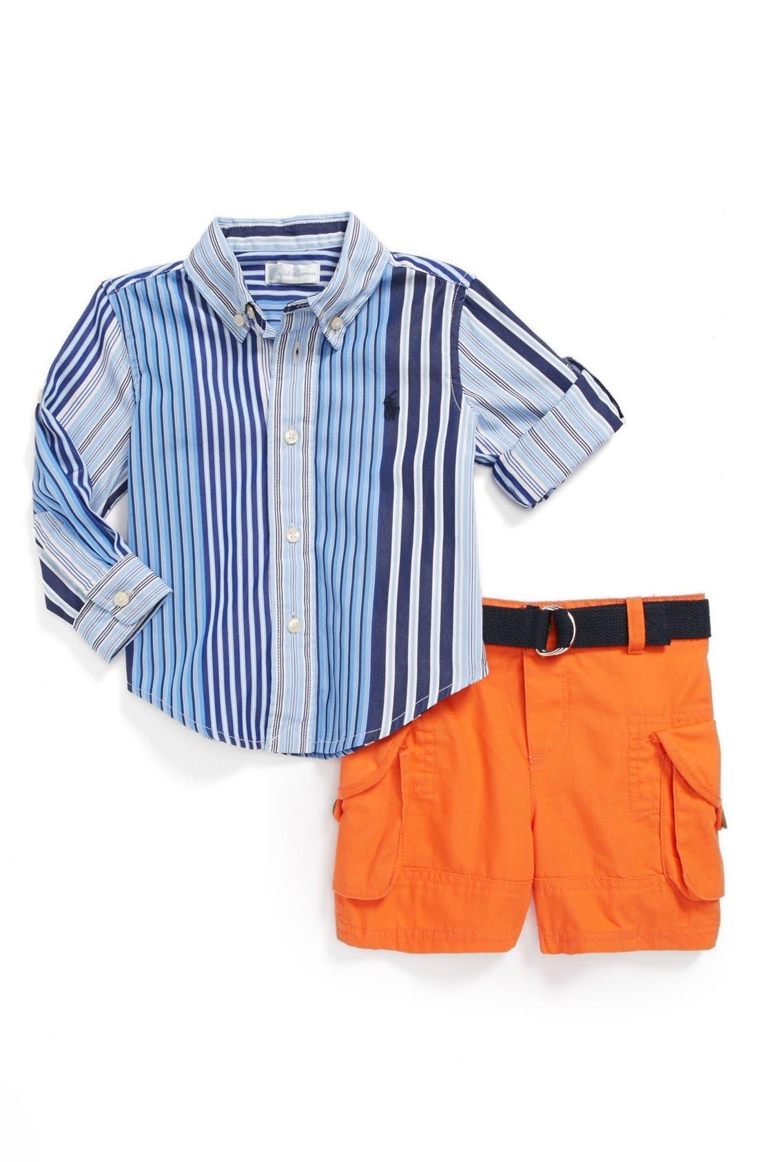 Alternate Image 1 Selected - Ralph Lauren Stripe Shirt & Cargo Shorts (Baby Boys)
