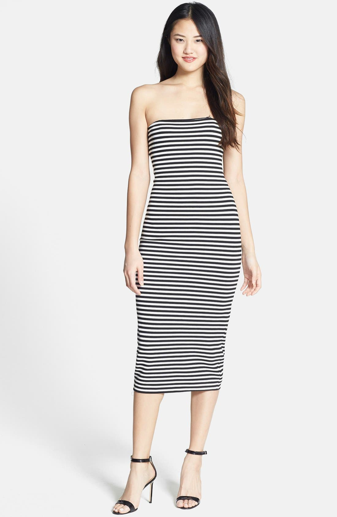 Main Image - Nicole Miller Stripe Strapless Ponte Knit Body-Con Dress