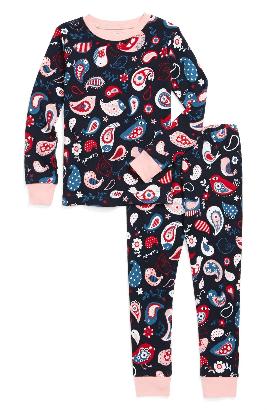 Alternate Image 1 Selected - Hatley 'Paisley Birds' Two-Piece Fitted Pajamas (Toddler Girls)
