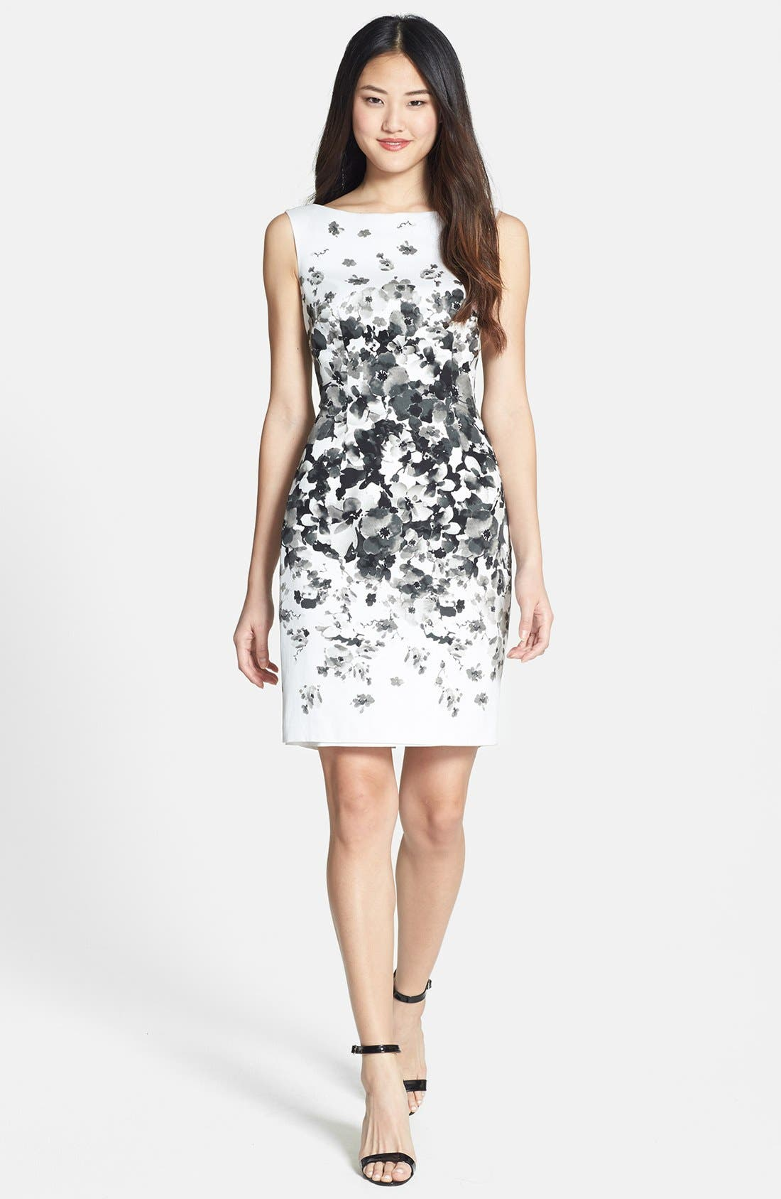 Alternate Image 2  - Maggy London Print Bateau Neck Cotton Sheath Dress (Regular & Petite)