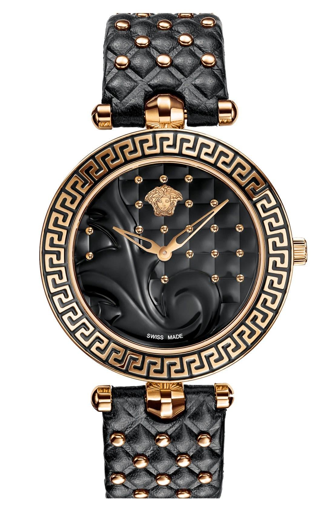 Alternate Image 2  - Versace 'Vanitas' Baroque Pattern Leather Strap Watch, 40mm