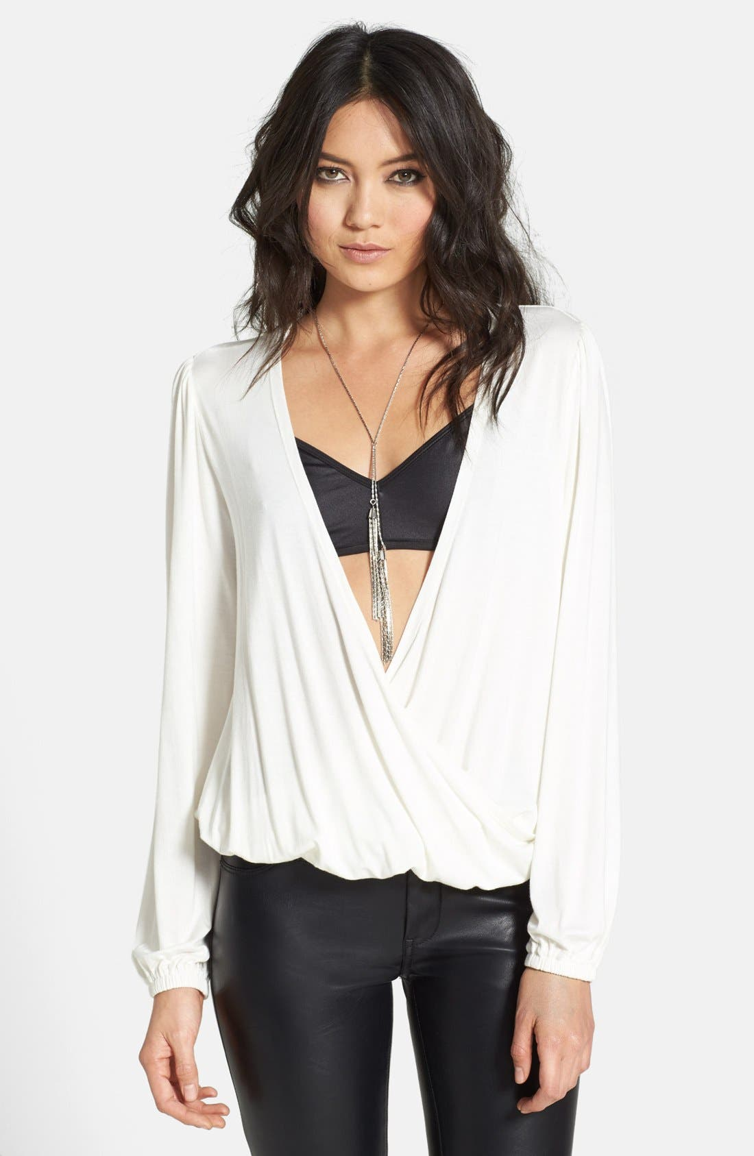 Alternate Image 1 Selected - L is for Lover 'Jacey' Draped Jersey Blouson Top