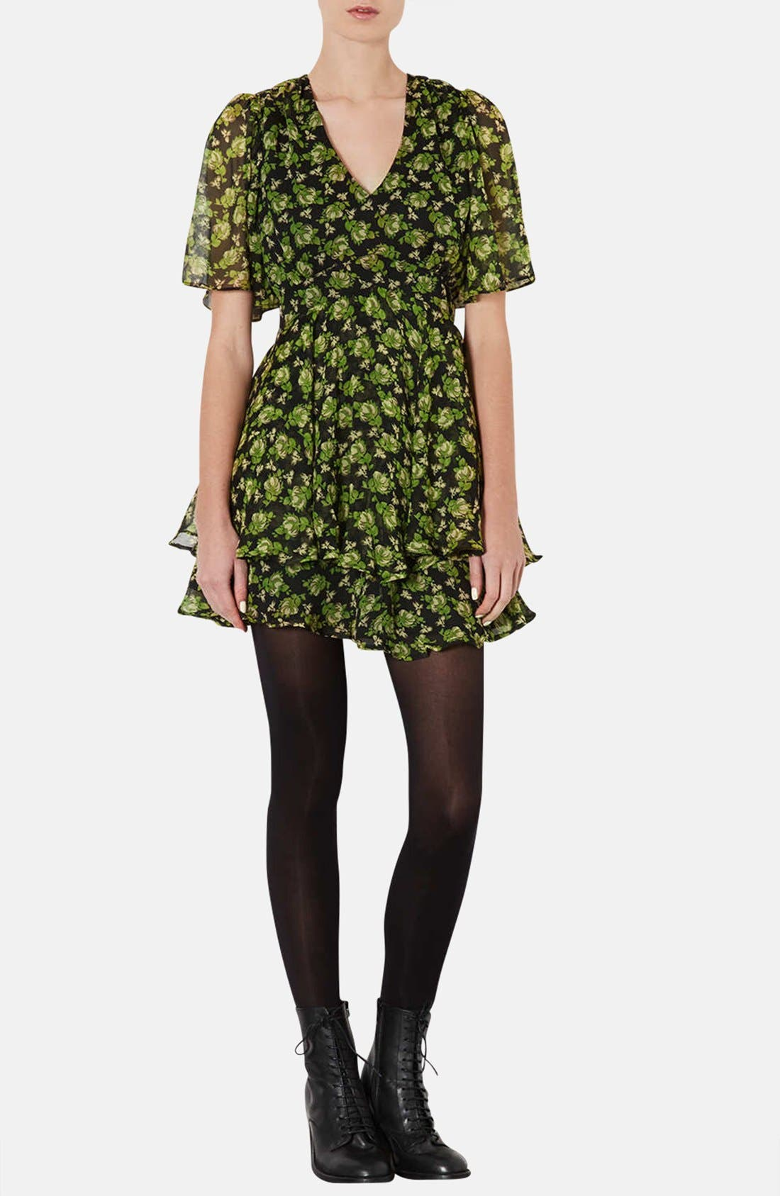 Alternate Image 1 Selected - Topshop 'Floral Bunches' Tiered Chiffon Dress