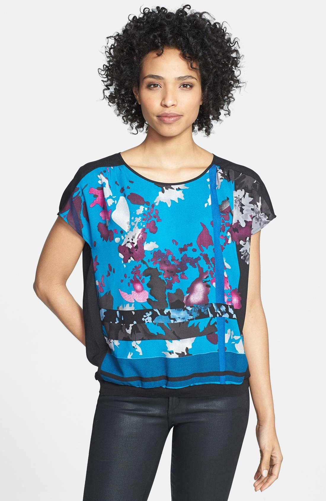 Alternate Image 1 Selected - Adrianna Papell Print Dolman Sleeve Tee