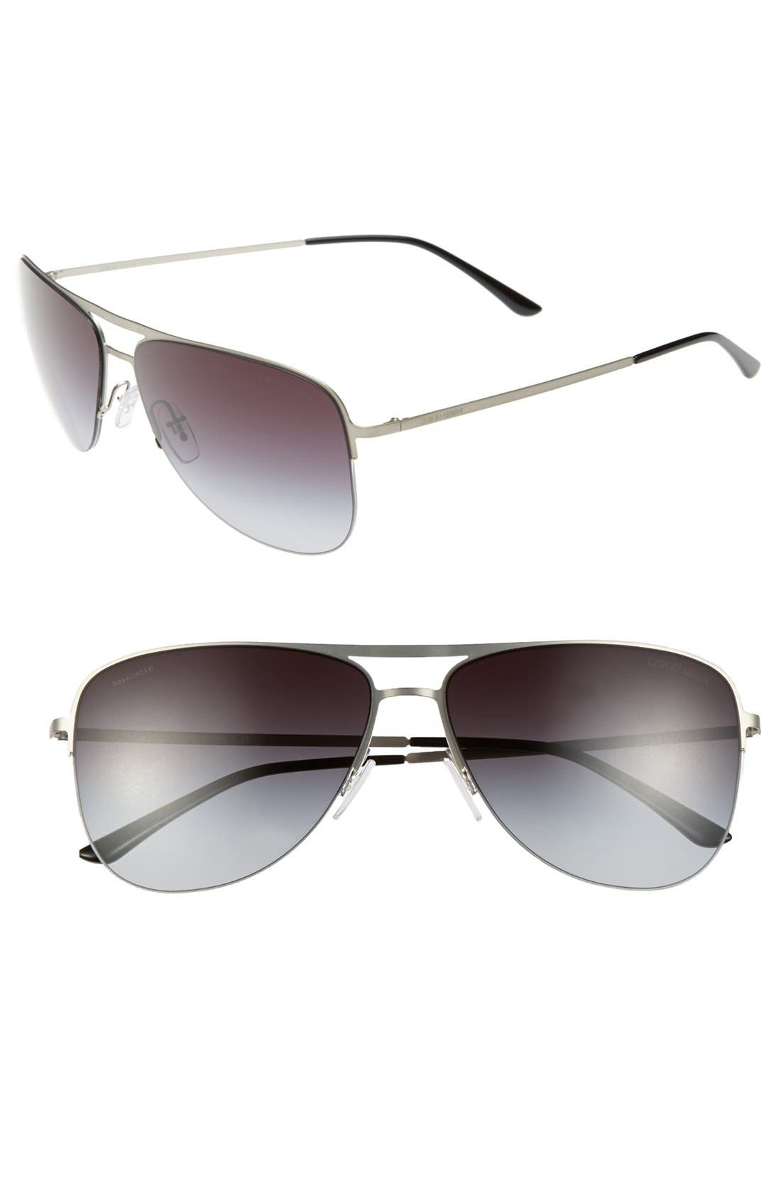 Main Image - Giorgio Armani 60mm Aviator Sunglasses
