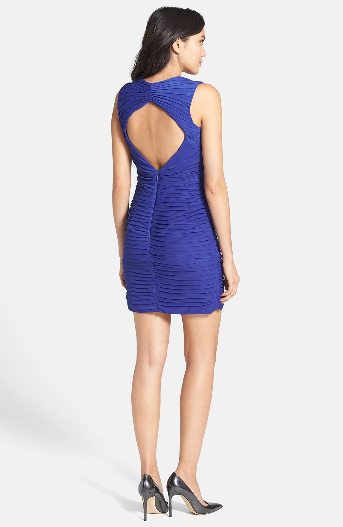 Alternate Image 2  - Hailey by Adrianna Papell Shirred Mesh Body-Con Dress